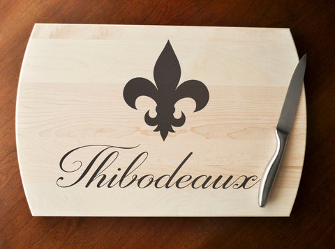 Custom Cutting Board - Engraved Cutting Board, Personalized Cutting Board, Wedding Gift, Housewarming Gift, Anniversary Gift, Fleur De Lis-Circle City Design Co.