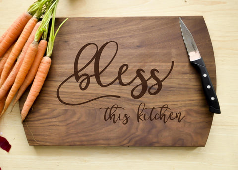 Custom Cutting Board - Engraved Cutting Board, Personalized Cutting Board, Wedding Gift, Housewarming Gift, Bless This Kitchen-Circle City Design Co.