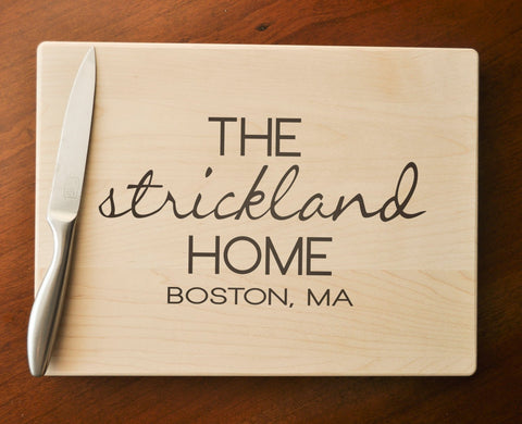 Custom Cutting Board, Personalized, Engraved Cutting Board, Personalized Wedding Gift, Housewarming Gift, Anniversary Gift, Realtor Gift-Circle City Design Co.