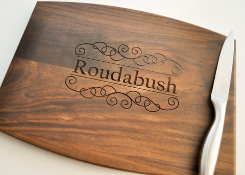 Cutting Board Personalized, Custom Cutting Board, Personalized Wedding Gift, Housewarming Gift, Anniversary Gift, Monogram, Engraved Walnut-Circle City Design Co.