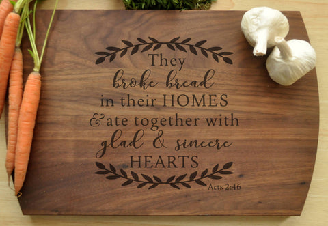 Engraved Cutting Board, They Broke Bread, Christian Cutting Board, Personalized Wedding Gift, Housewarming Gift, Bible Verse Cutting Board-Circle City Design Co.