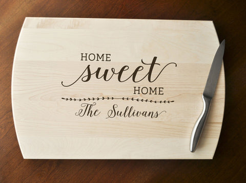 Home Sweet Home Cutting Board - Engraved Cutting Board, Personalized Cutting Board, Wedding Gift, Housewarming Gift, Realtor Gift, Closing-Circle City Design Co.