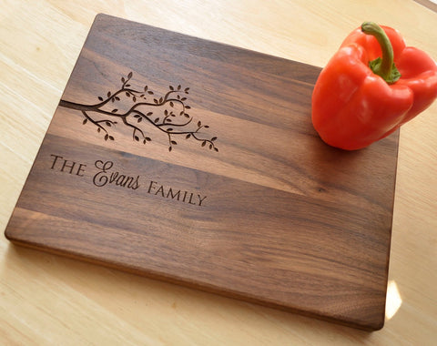 Housewarming Gift, Personalized Cutting Board, Engraved Walnut Cutting Board, Custom Personalized Wedding Gift, Anniversary, Christmas Gift-Circle City Design Co.