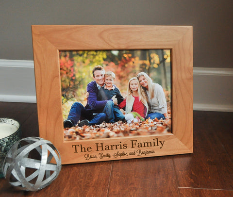 Personalized Picture Frame, Engraved Photo Frame, Custom Family Gift, 8 x 10, Christmas Present, Wood Picture Frame, Picture Frame