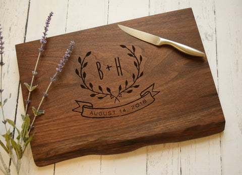 Live Edge Cutting Board, Walnut, Personalized Cutting Board, Engraved, Custom, Cheese Board, Charcuterie Board, Serving Board, Natural Edge