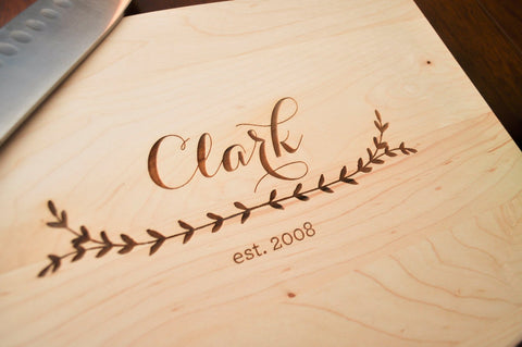 Personalized Cutting Board - Custom Cutting Board, Personalized Wedding Gift, Engraved Cutting Board, Walnut Cutting Board, Personalized-Circle City Design Co.