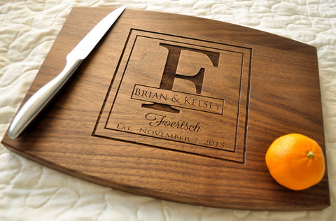 Personalized Cutting Board, Custom Cutting Board, Personalized Wedding Gift, Housewarming Gift, Anniversary Gift, Monogram, Engraved Walnut-Circle City Design Co.