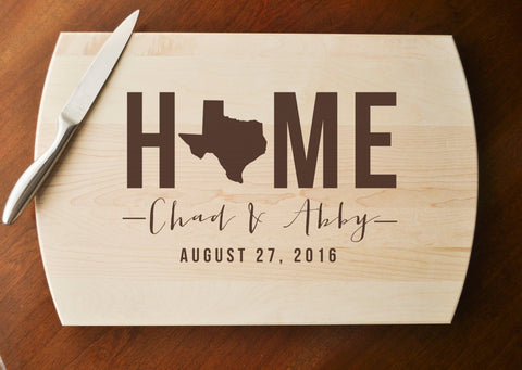 Personalized Cutting Board, Custom Cutting Board, Personalized Wedding Gift, Housewarming Gift, Home Cutting Board, State Cutting Board-Circle City Design Co.