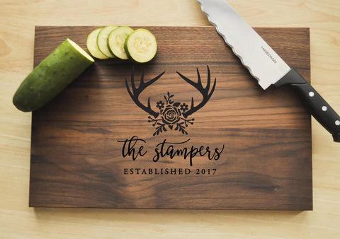 Personalized Cutting Board - Engraved Cutting Board, Antler Deer Cutting Board, Wedding Gift, Housewarming Gift, Anniversary, Christmas Gift-Circle City Design Co.