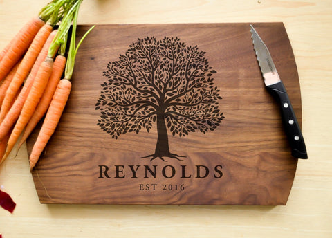 Personalized Cutting Board, Engraved Cutting Board, Custom Cutting Board, Wedding Gift, Housewarming Gift, Anniversary Gift, Tree Board-Circle City Design Co.