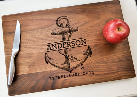 Personalized Cutting Board - Engraved Cutting Board, Custom Cutting Board, Wedding Gift, Housewarming Gift, Christmas Gift, Nautical Gift-Circle City Design Co.
