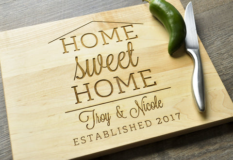 Personalized Cutting Board, Engraved Cutting Board, Custom Personalized Wedding Gift, Housewarming Gift, Anniversary, Couple Cutting Board-Circle City Design Co.