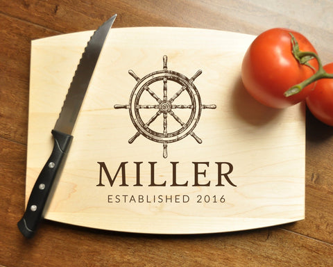 Personalized Cutting Board, Engraved Cutting Board, Custom Personalized Wedding Gift, Housewarming Gift, Anniversary Gift, Nautical Ship-Circle City Design Co.