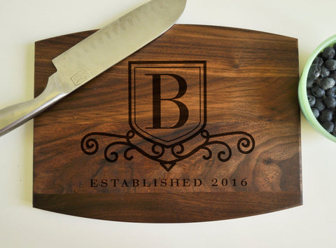 Personalized Engraved Cutting Board Walnut, Custom Cutting Board, Personalized Wedding Gift, Housewarming Gift, Anniversary Gift, Monogram-Circle City Design Co.