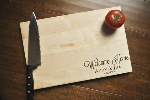 Welcome Home Cutting Board, Engraved Cutting Board, Custom Personalized Wedding Gift, Housewarming Gift, Anniversary Gift, Realtor Gift-Circle City Design Co.