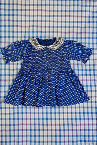 Blue Dots Blouse With Embroidered Collar
