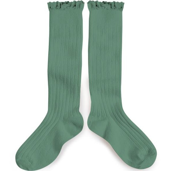 Lace Trim Knee-High Sock Celadon