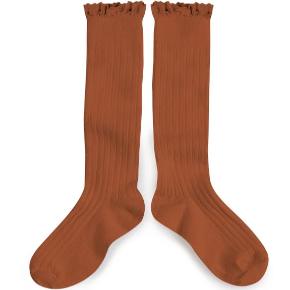 Lace Knee-High Sock Gingerbread