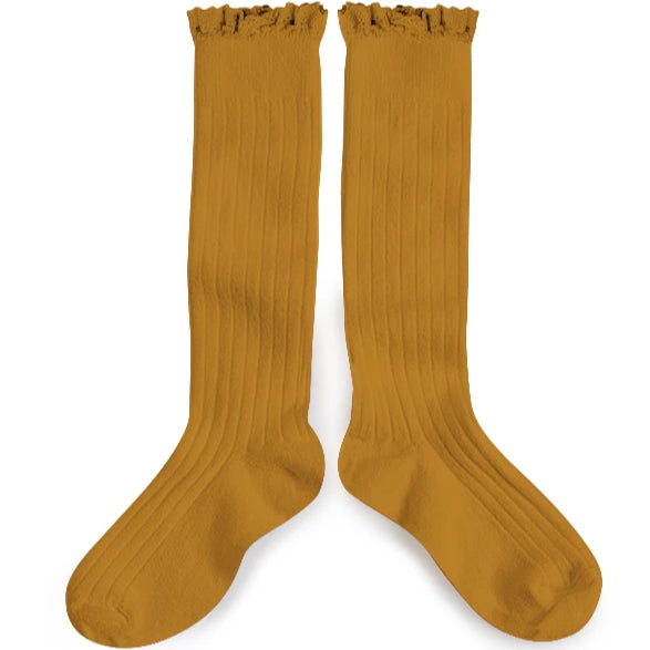 Lace Knee-High Sock Mustard
