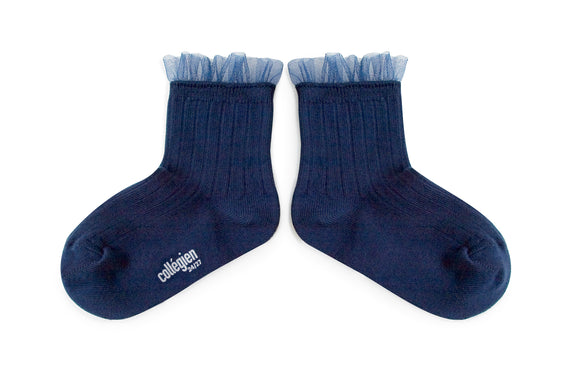 Tulle Trim Ankle Socks Navy