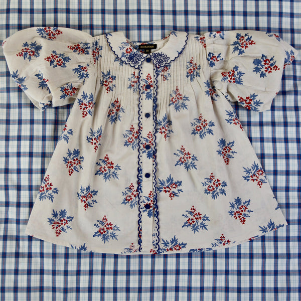 Red/Blue Flowers Balloon Blouse