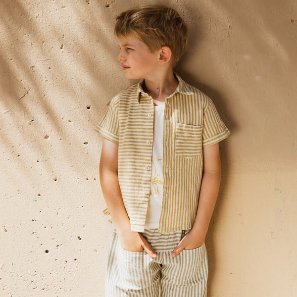 Boys Ochre Stripes Hand Woven Shirt