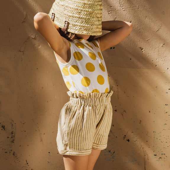 Ochre Stripes Hand Woven Shorts