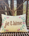 JE T'AIME Embroidered Pillow