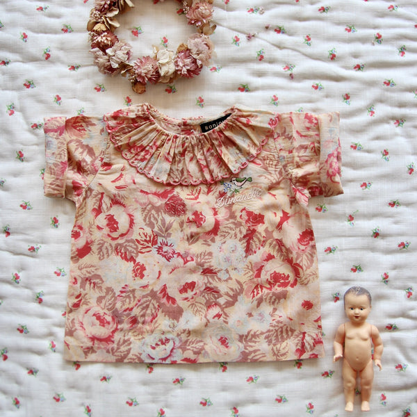 Faded Roses Baby Flounce Blouse with Embroidery