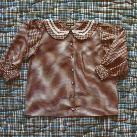 Caramel Check Sailor Blouse