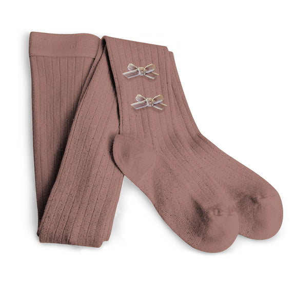 Ribbed Tights with Velvet Bows Praline Pink