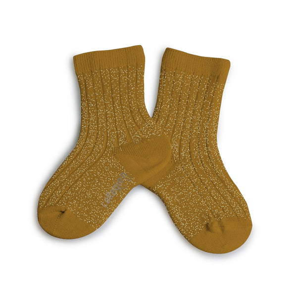 Lurex Ankle Socks Mustard