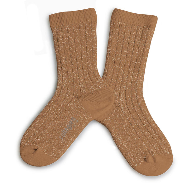 Lurex Ankle Socks Caramel