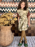 Moss Green Flower Print Apron Dress