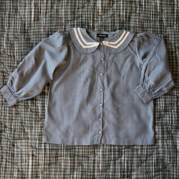 Blue/Grey Check Sailor Blouse