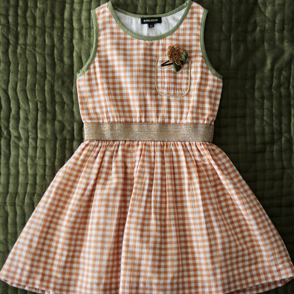 Orange Gingham Tank Dress