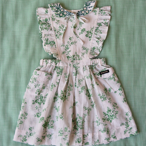 Green Flowers Apron Dress