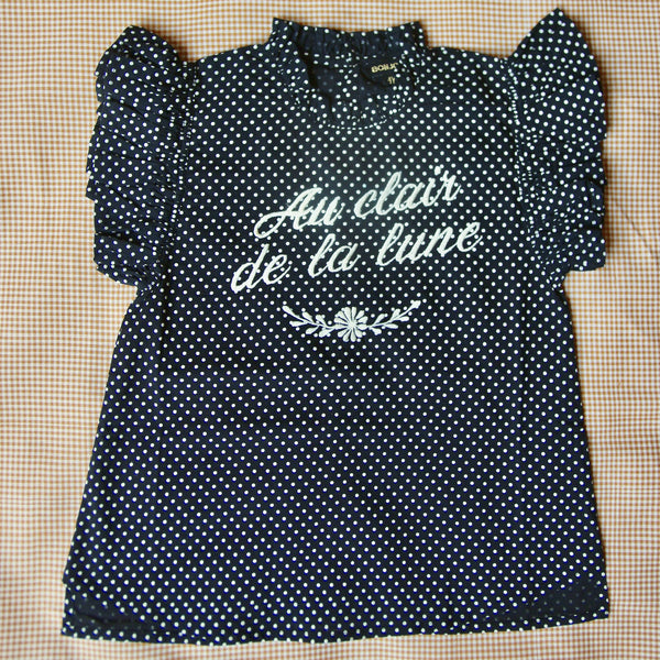 Black Dots Flounce Top With Embroidery