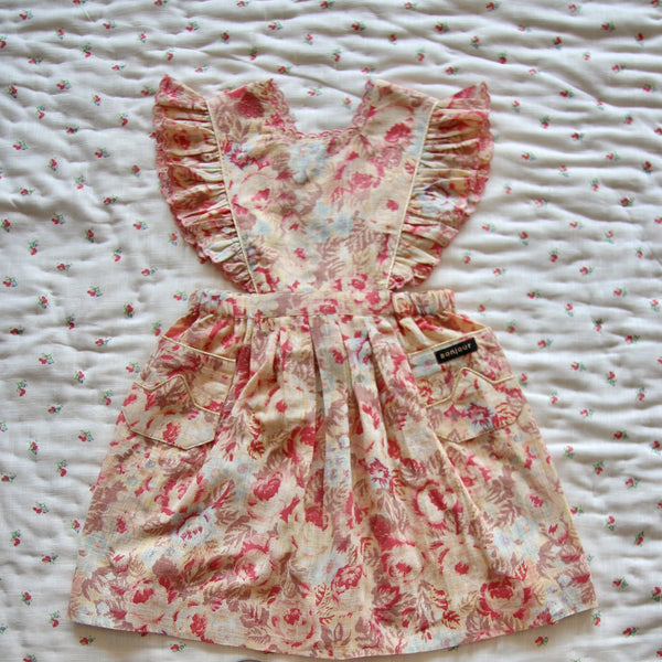 Faded Roses Print Apron Dress