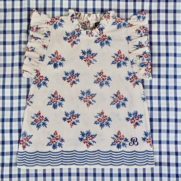 Red/Blue Flowers Flounce Top