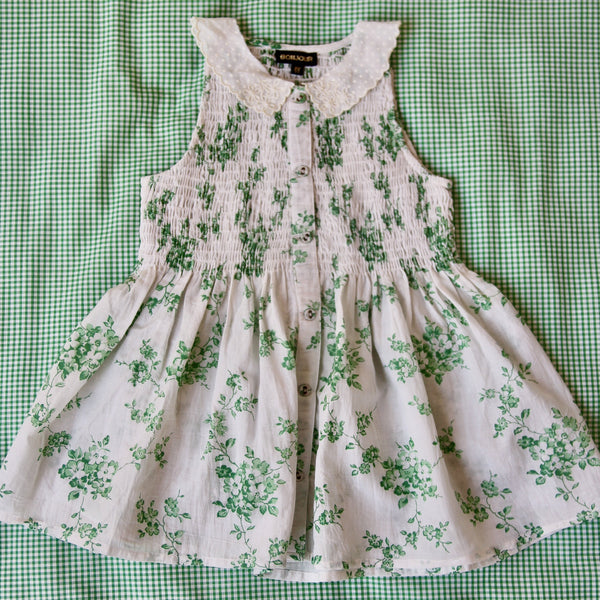 Green Flowers Hand Smocked Blouse