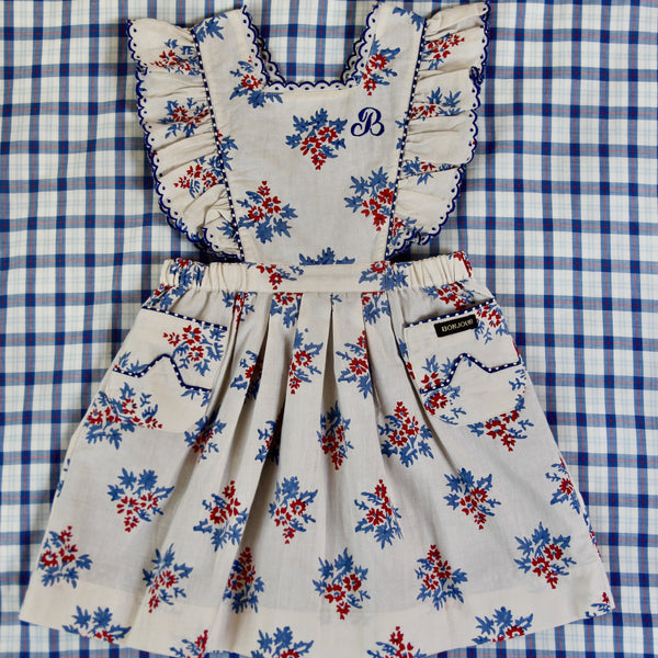 Red/Blue Flowers Apron Dress
