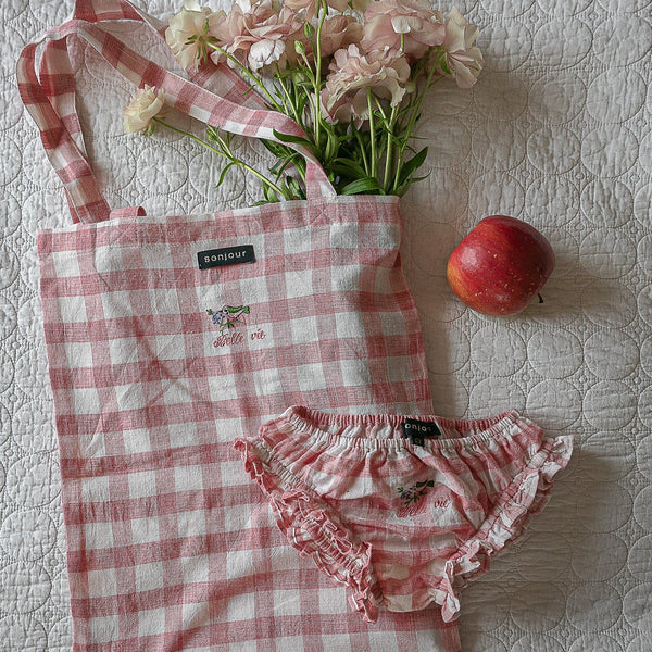 Rose Gingham Mini Tote