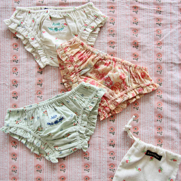 Set of 3 Floral Embroidered Panties