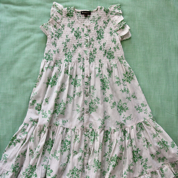 Green Flowers Long Dress