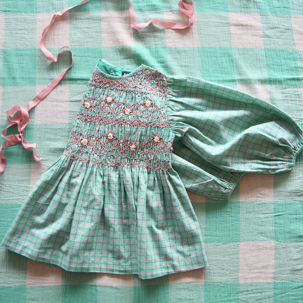 Mint School Check Hand smocked Blouse