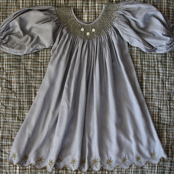 Blue/Grey Check Butterfly Dress