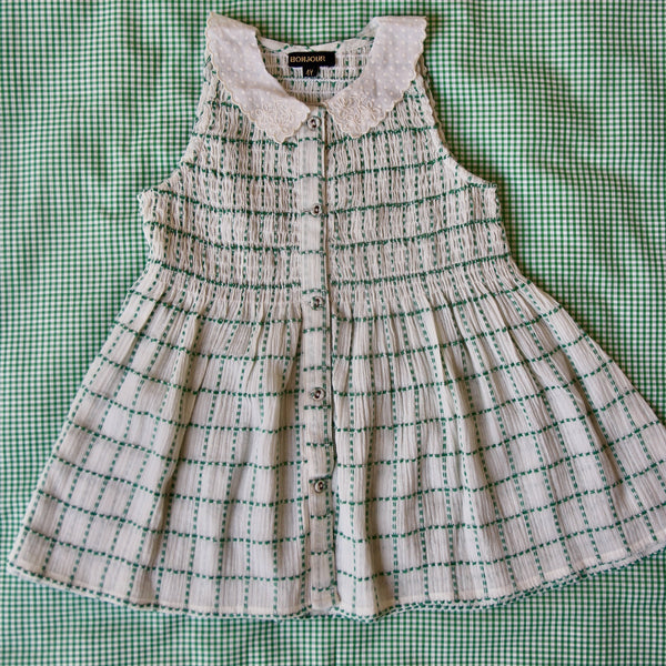 Green Check Hand Smocked Blouse