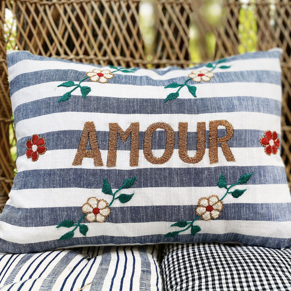 AMOUR Embroidered Pillow - Stripes