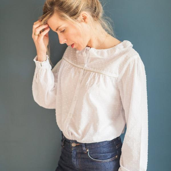 Woman White Plumetis Blouse